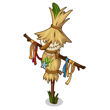 Funny Scarecrow in a straw hat in cartoon style