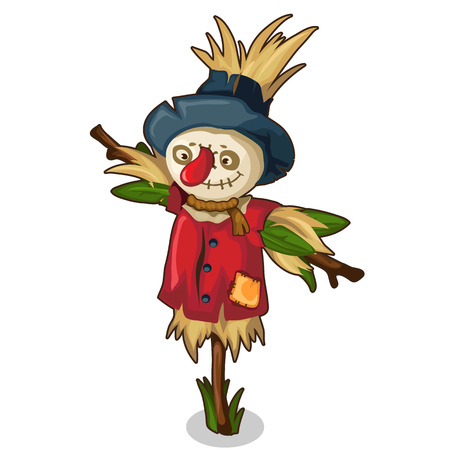 Scarecrow made of straw and grass in red clothes Illustration