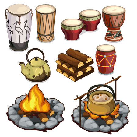 darbuka: Musical instruments drums and elements of camping Illustration
