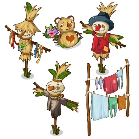 Set of scarecrow, straw toys and drying clothes 向量圖像