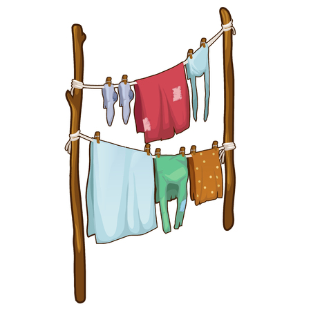 Drying clothes in the fresh air in cartoon style