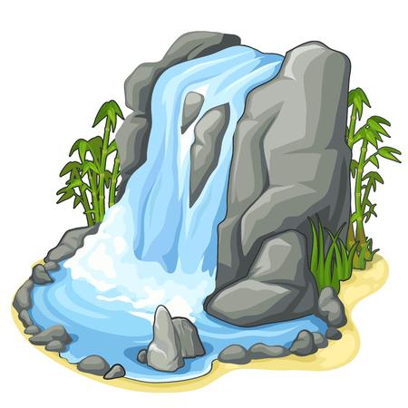 Mooie stroom van waterval van klif. Vector