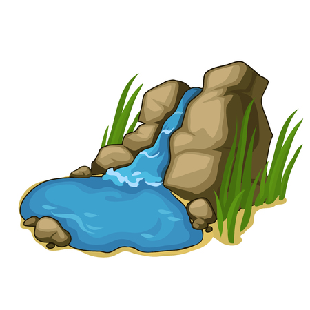 Small lake with a beautiful waterfall. Vector Illustration