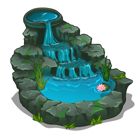 Beautiful waterfall with swimming pool. Vector Illustration