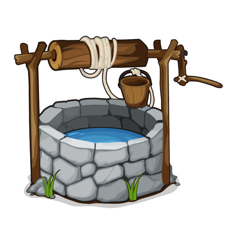 Brick well with blue water and wooden bucket Vectores