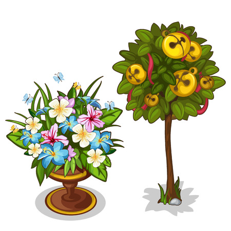 Bouquet with butterflies and tree with bells