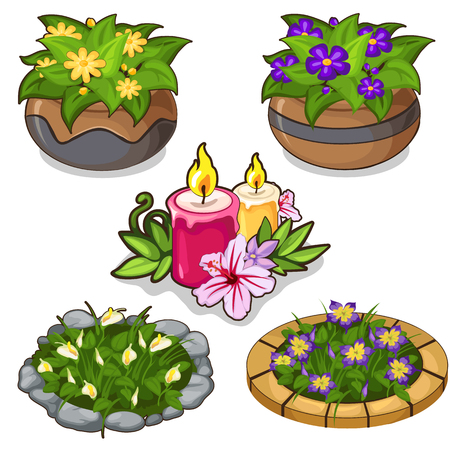 Set of flowers in pots, flower beds and candles