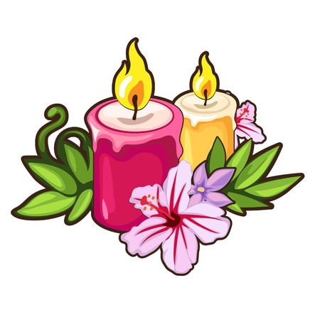 Burning candles with flowers. Holiday concept