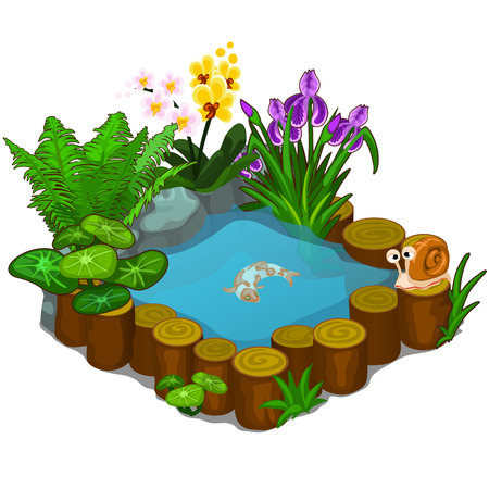 Beautiful pond with snail, fish and flowers