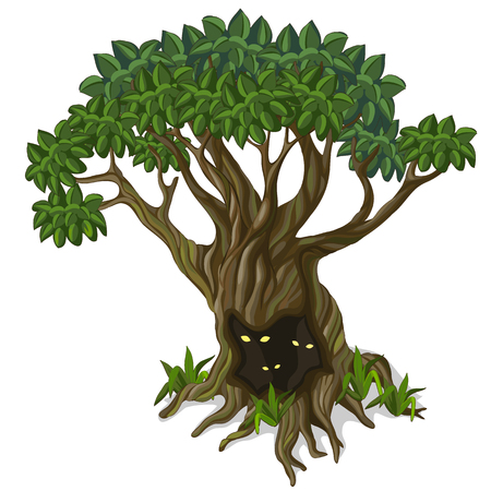 Big old tree with creatures looking out of the hollow. Fabulous illustration isolated on white background. Vector in cartoon style