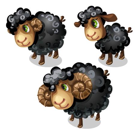 White sheep. Vector animal in cartoon style