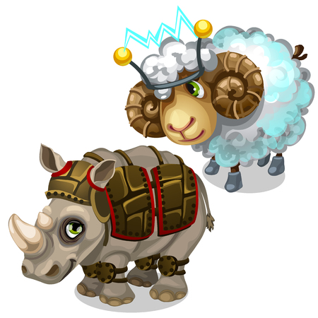 muscular control: Sheep with transmitter on head and Rhino in armor