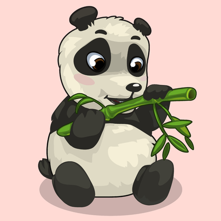sprig: Baby Panda with sprig of bamboo on pink background