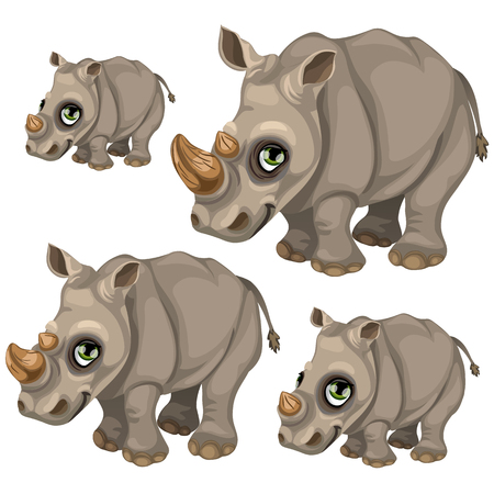Cute rhino with green eyes. Vector animals