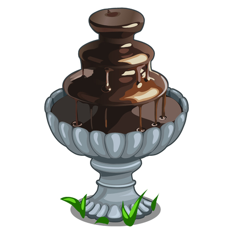 Chocolate fountain in architectural bowl. Vector