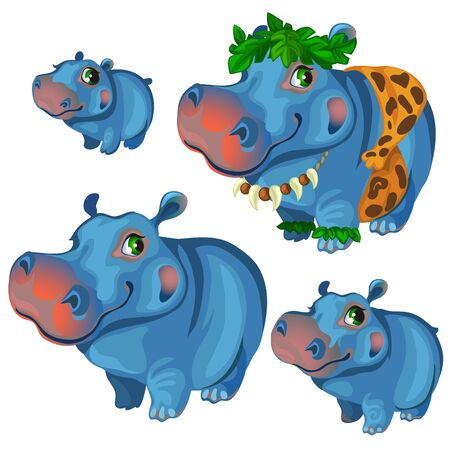Hippos rest and sunbathe on holiday Illustration