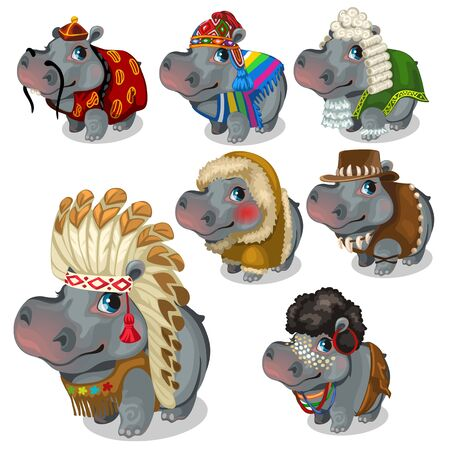 similitude: Set of seven hippos in different national costumes