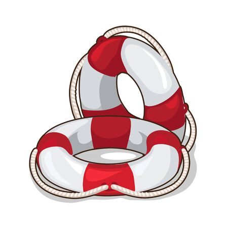 life guard: Classic inflatable lifebuoy on a white background. Vector illustration in cartoon style Illustration