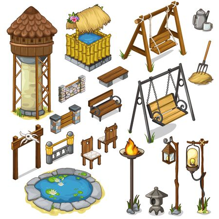 Large vector set constructor items for locations, swings, pond, well and other objects in cartoon style. Vector illustration isolated Illustration