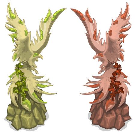 mythical phoenix bird: Paired mythical figures of birds