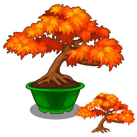 鍋に秋の盆栽  イラスト・ベクター素材