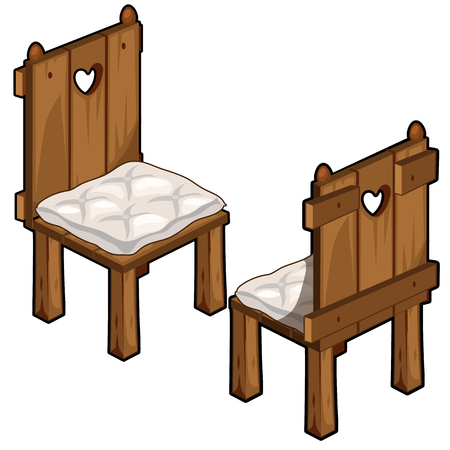 Two wooden chairs with soft seats Illustration