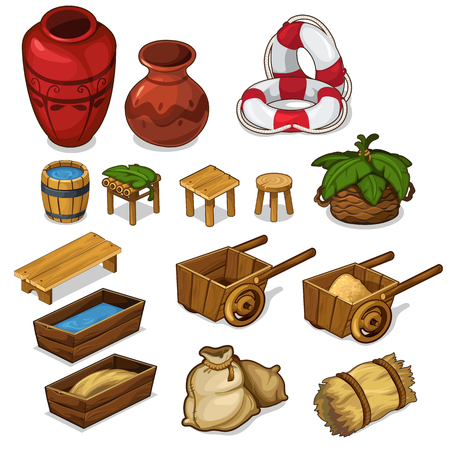 Set items for life in the countryside. Agricultural equipment concept. vase, wooden chair and bench, cart, hay, lifeline and other items. Vector illustration in cartoon style