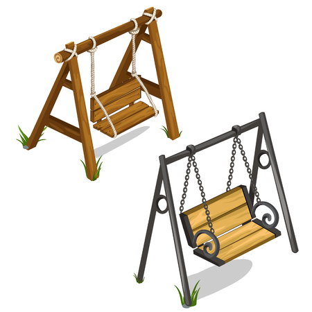 veranda: Vintage wooden and forged swing outdoors. Objects of landscape design concept. Illustration isolated on white background. Vector in cartoon style