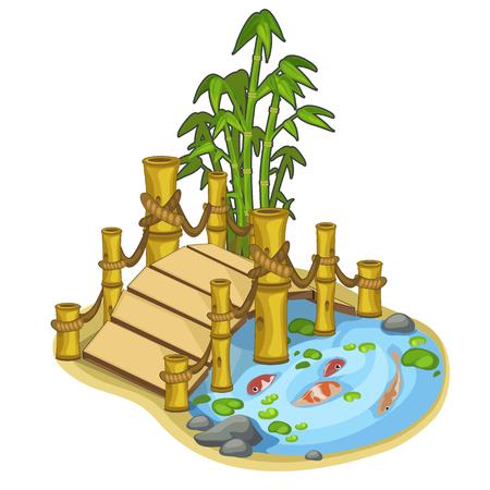 Mooi vectormeer met vissen en bamboebrug. Objecten van landschapsontwerp concept. Illustratie op witte achtergrond wordt geïsoleerd die. Vector in cartoon stijl Stock Illustratie