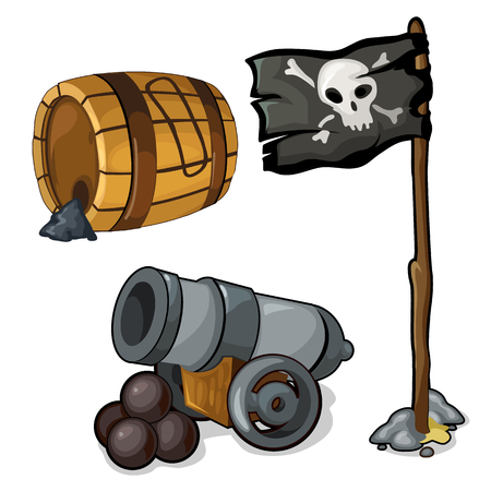 black powder pistol: Wooden barrel of gunpowder, cannon and black pirate flag. Vector illustration isolated in cartoon style