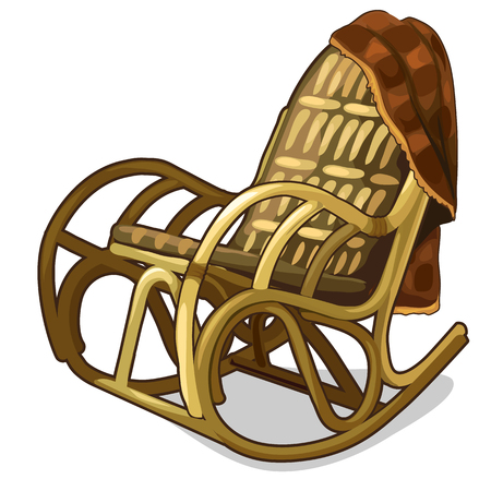 Chaise à bascule confortable vintage avec couverture. Illustration vectorielle isolée dans le style de dessin animé Vecteurs