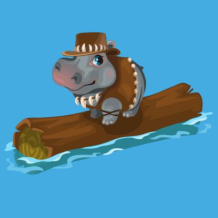 ranger: Hippopotamus hunter swimming a river on a log Illustration