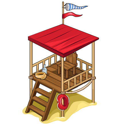 lifeline: Rescue tower with chair, flag, lifeline, water and rope. Illustration isolated on white background. Vector in cartoon style Illustration