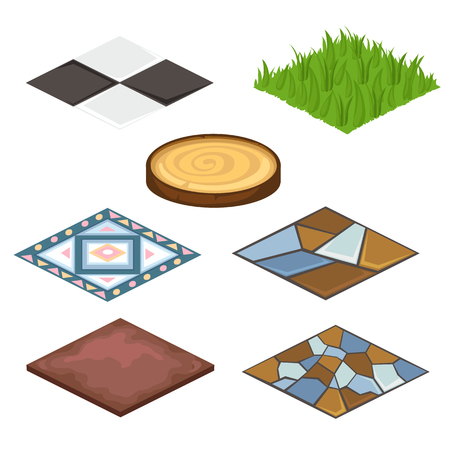 coatings: Set of different coatings for house and croft - artificial grass, wooden coatings, laminate, stone. Landscape and design concept. Illustration isolated on white background. Vector in cartoon style Illustration
