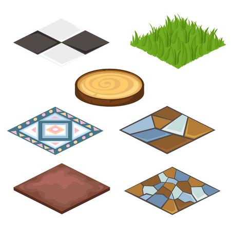 Set van verschillende coatings voor huis en croft - kunstgras, houten coatings, laminaat, steen. Landschap en ontwerpconcept. Illustratie op witte achtergrond wordt geïsoleerd die. Vector in cartoon stijl
