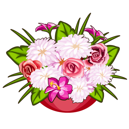 Beautiful pot of pink and white flowers. Vector Illustration