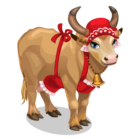 Cow housewife in red cap and apron. Vector Illustration
