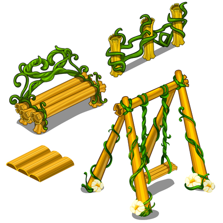 Wooden swing, bench, fence with creeping plant Illustration