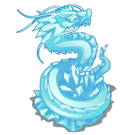 Ice figurine of serpent dragon. Vector animal isolated for animation, childrens prints and other design needs
