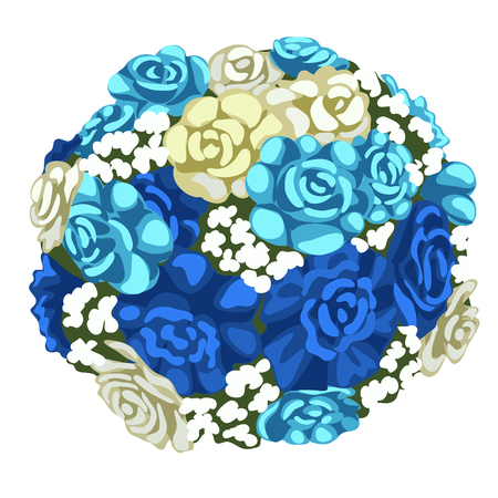 Delicate bouquet of blue and white flowers. Vector illustration in cartoon style isolated on a white background