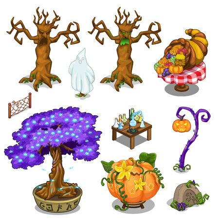 terribly: Magical frightening trees, pumpkin, equipment for cooking extracts and other magical things. Big vector set in cartoon style on white background. Illustration isolated