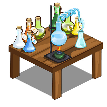 Chemical flasks on table. Magic potions concept Illustration
