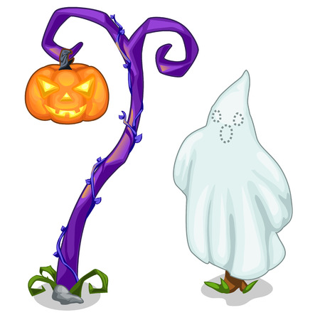 spectre: Funny ghost and magical tree with carving pumpkin