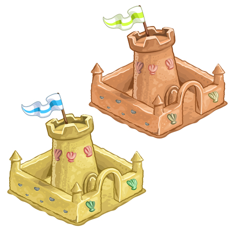 Childrens sand castle, tower of the Fort with flag