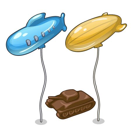 blimp: Two balloons in form of airship and chocolate tank