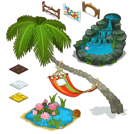 oasis: Elements of decorating landscape, island theme Illustration