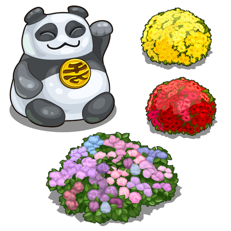 Panda with hieroglyph, feng shui and flower beds