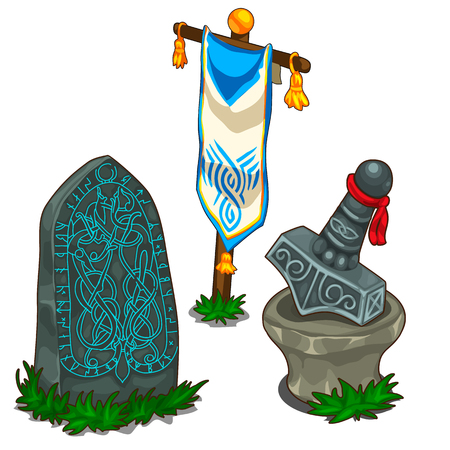 celtic: Set of items in Norse mythology. Vector isolated