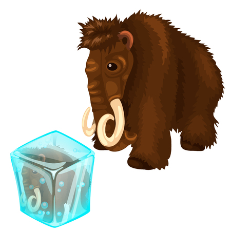 Shaggy mammoth and it copy frozen in ice cube