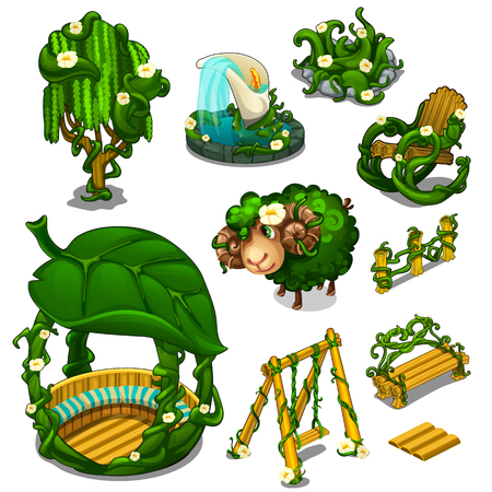 veranda: Big set of scenery for location, plants style Illustration